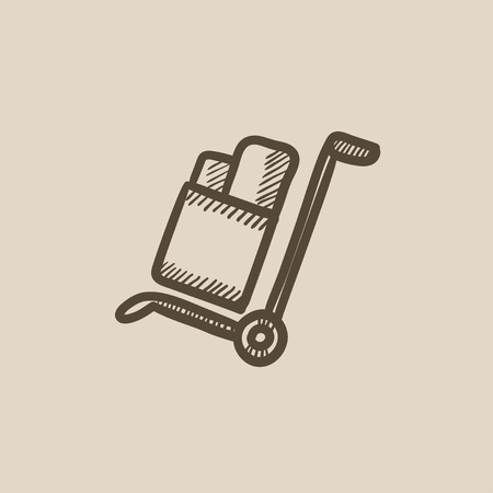 handling: Shopping handling trolley vector sketch icon isolated on background. Hand drawn Shopping handling trolley icon. Shopping handling trolley sketch icon for infographic, website or app.