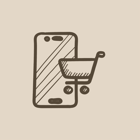 Online shopping vector sketch icon isolated on background. Hand drawn Online shopping icon. Online shopping sketch icon for infographic, website or app. Illustration