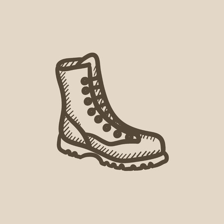 Boot with laces vector sketch icon isolated on background. Hand drawn Boot with laces icon. Boot with laces sketch icon for infographic, website or app. Иллюстрация