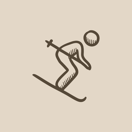Downhill skiing vector sketch icon isolated on background. Hand drawn Downhill skiing icon. Downhill skiing sketch icon for infographic, website or app. Stock fotó - 59310794