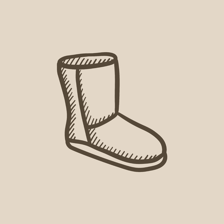 fuzzy: Fuzzy winter boot vector sketch icon isolated on background. Hand drawn Fuzzy winter boot icon. Fuzzy winter boot sketch icon for infographic, website or app.
