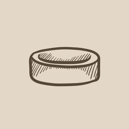 puck: Hockey puck vector sketch icon isolated on background. Hand drawn Hockey puck icon. Hockey puck sketch icon for infographic, website or app.