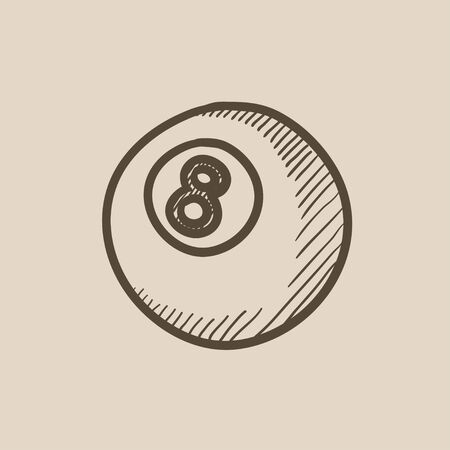 billiard ball: Billiard ball vector sketch icon isolated on background. Hand drawn Billiard ball icon. Billiard ball sketch icon for infographic, website or app. Illustration