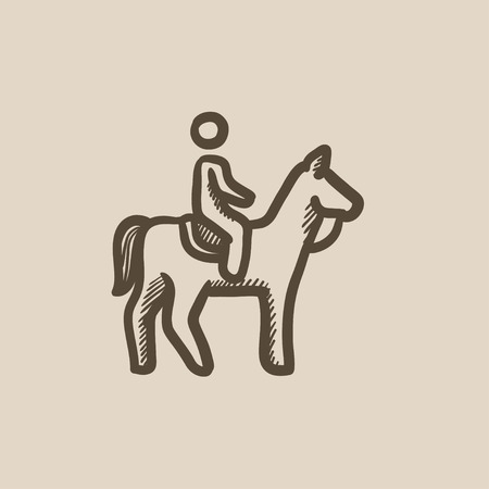 Horse riding vector sketch icon isolated on background. Hand drawn Horse riding icon. Horse riding sketch icon for infographic, website or app.