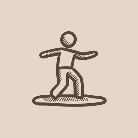 Male surfer riding on surfboard vector sketch icon isolated on background. Hand drawn Male surfer riding on surfboard icon. Male surfer riding on surfboard sketch icon for infographic, website or app.