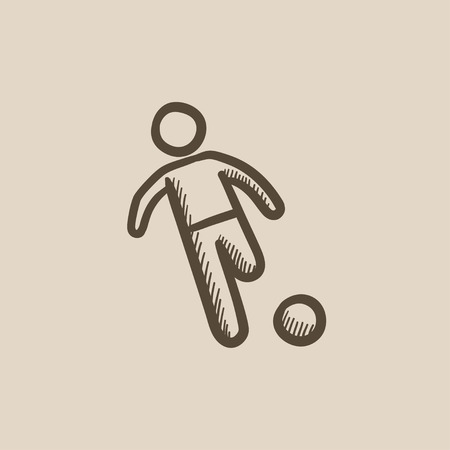 soccer field: Soccer player with ball vector sketch icon isolated on background. Hand drawn Soccer player with ball icon. Soccer player with ball sketch icon for infographic, website or app.