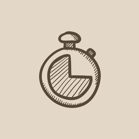 Stopwatch vector sketch icon isolated on background. Hand drawn Stopwatch icon. Stopwatch sketch icon for infographic, website or app. Illustration
