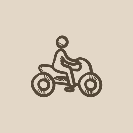 motorsports: Man riding motorcycle vector sketch icon isolated on background. Hand drawn Man riding motorcycle icon. Man riding motorcycle sketch icon for infographic, website or app. Illustration