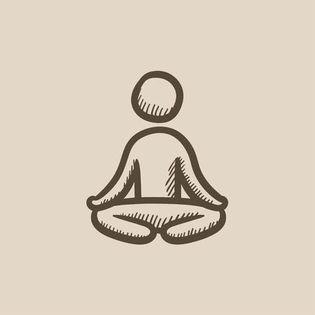 elasticidad: Hombre meditando en posici�n de loto dibujo icono del vector aislado en el fondo. dibujado a mano el hombre meditando en posici�n de loto icono. Hombre meditando en posici�n de loto dibujo icono de infograf�a, sitio web o aplicaci�n. Vectores