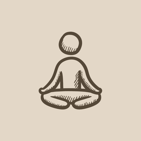 elasticity: Man meditating in lotus pose vector sketch icon isolated on background. Hand drawn Man meditating in lotus pose icon. Man meditating in lotus pose sketch icon for infographic, website or app.