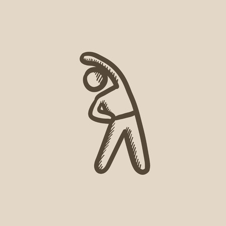 Man making exercises vector sketch icon isolated on background. Hand drawn Man making exercises icon. Man making exercises sketch icon for infographic, website or app. Illustration