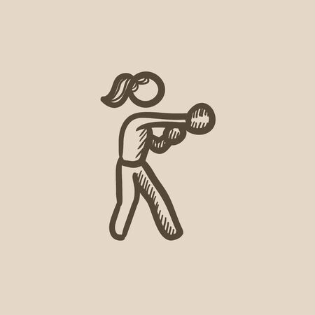 Female boxer vector sketch icon isolated on background. Hand drawn Female boxer icon. Female boxer sketch icon for infographic, website or app.