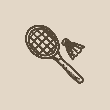 badminton racket: Shuttlecock and badminton racket vector sketch icon isolated on background. Hand drawn Shuttlecock and badminton racket icon. Badminton racket sketch icon for infographic, website or app.