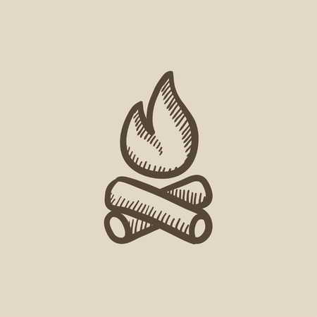 kindling: Campfire vector sketch icon isolated on background. Hand drawn Campfire icon. Campfire sketch icon for infographic, website or app.