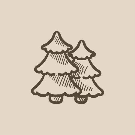 Pine trees vector sketch icon isolated on background. Hand drawn Pine trees icon. Pine trees sketch icon for infographic, website or app. Vektorové ilustrace