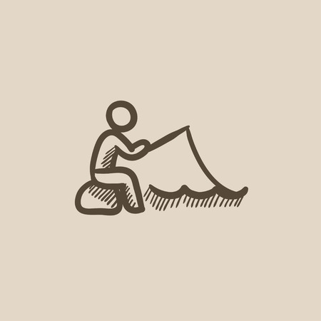 Fisherman sitting with rod vector sketch icon isolated on background. Hand drawn Fisherman sitting with rod icon. Fisherman sitting with rod sketch icon for infographic, website or app. Illusztráció