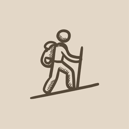 backpacker: Tourist backpacker vector sketch icon isolated on background. Hand drawn Tourist backpacker icon. Tourist backpacker sketch icon for infographic, website or app.