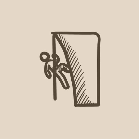 cling: Rock climber vector sketch icon isolated on background. Hand drawn Rock climber icon. Rock climber sketch icon for infographic, website or app. Illustration