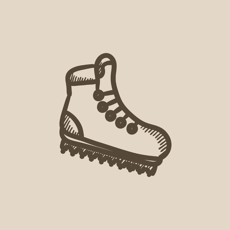 hillwalking: Hiking boot with crampons vector sketch icon isolated on background. Hand drawn Hiking boot with crampons icon. Hiking boot with crampons sketch icon for infographic, website or app. Illustration