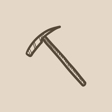 pickaxe: Ice pickaxe vector sketch icon isolated on background. Hand drawn Ice pickaxe icon. Ice pickaxe sketch icon for infographic, website or app.