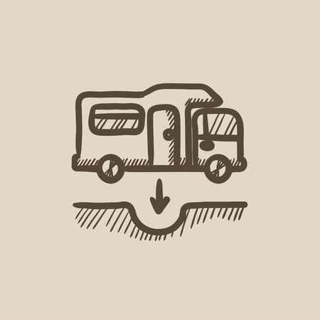sump: Motorhome and sump vector sketch icon isolated on background. Hand drawn Motorhome and sump icon. Motorhome and sump sketch icon for infographic, website or app.