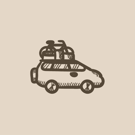 mini bike: Car with bicycle mounted to the roof vector sketch icon isolated on background. Hand drawn Car with bicycle mounted to roof icon. Car with bicycle on roof sketch icon for infographic, website or app.