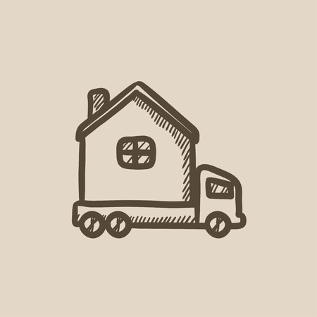 motorhome: Motorhome vector sketch icon isolated on background. Hand drawn Motorhome icon. Motorhome sketch icon for infographic, website or app.