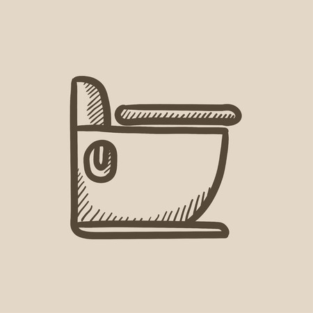 canalization: Toilet vector sketch icon isolated on background. Hand drawn Toilet icon. Toilet sketch icon for infographic, website or app.