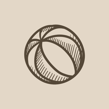 Beach ball vector sketch icon isolated on background. Hand drawn Beach ball icon. Beach ball sketch icon for infographic, website or app. Illustration