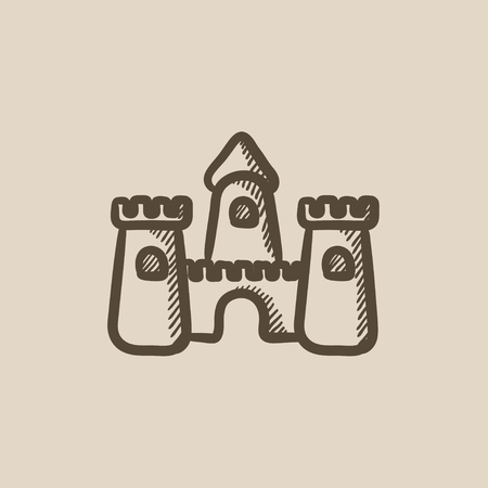 sandcastle: Sandcastle vector sketch icon isolated on background. Hand drawn Sandcastle icon. Sandcastle sketch icon for infographic, website or app.