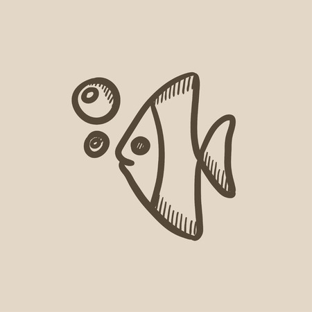 under water: Fish under water vector sketch icon isolated on background. Hand drawn Fish under water icon. Fish under water sketch icon for infographic, website or app.