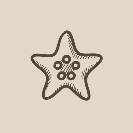 seafish: Starfish vector sketch icon isolated on background. Hand drawn Starfish icon. Starfish sketch icon for infographic, website or app.