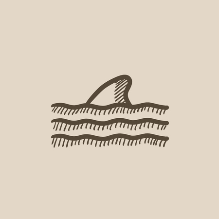 dorsal: Dorsal shark fin above water vector sketch icon isolated on background. Hand drawn Dorsal shark fin above water icon. Dorsal shark fin above water sketch icon for infographic, website or app.