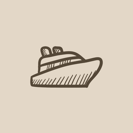 Cruise ship vector sketch icon isolated on background. Hand drawn Cruise ship icon. Cruise ship sketch icon for infographic, website or app. Çizim