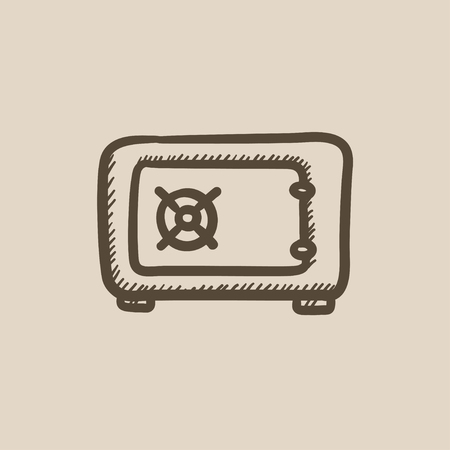 Safe vector sketch icon isolated on background. Hand drawn Safe icon. Safe sketch icon for infographic, website or app. Illustration