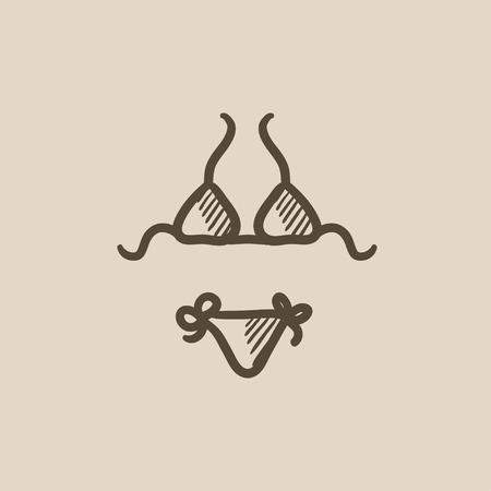 Swimsuit for women vector sketch icon isolated on background. Hand drawn Swimsuit for women icon. Swimsuit for women sketch icon for infographic, website or app. Illustration