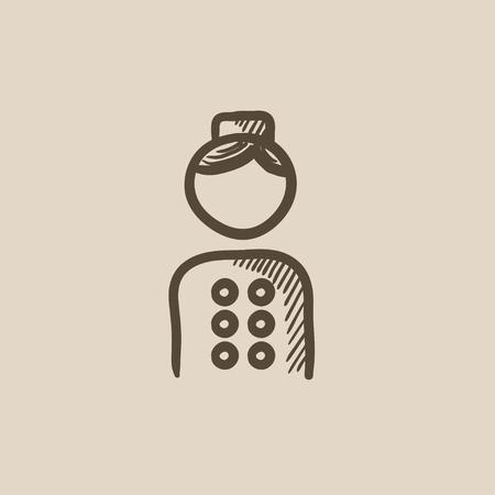 Bellboy Vektor Skizze Symbol auf Hintergrund isoliert. Hand Bellboy Symbol gezeichnet. Bellboy Skizze Symbol für Infografik, die Website oder App. Vektorgrafik
