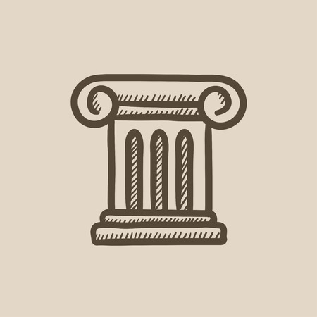 Ancient column vector sketch icon isolated on background. Hand drawn Ancient column icon. Ancient column sketch icon for infographic, website or app. Vettoriali