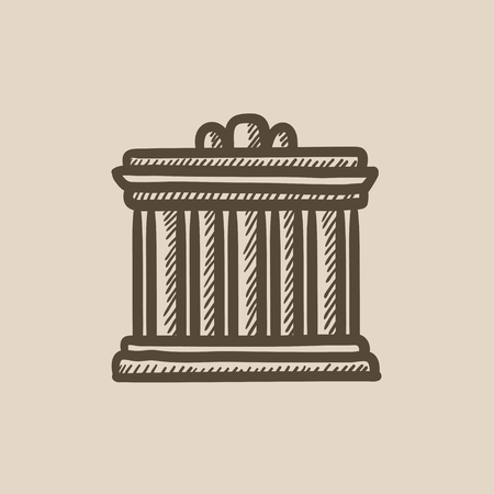 acropolis: Acropolis of Athens vector sketch icon isolated on background. Hand drawn Acropolis of Athens icon. Acropolis of Athens sketch icon for infographic, website or app. Illustration