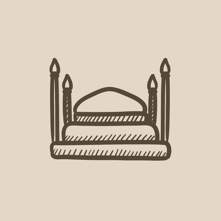 mahal: Taj Mahal vector sketch icon isolated on background. Hand drawn Taj Mahal icon. Taj Mahal sketch icon for infographic, website or app. Illustration