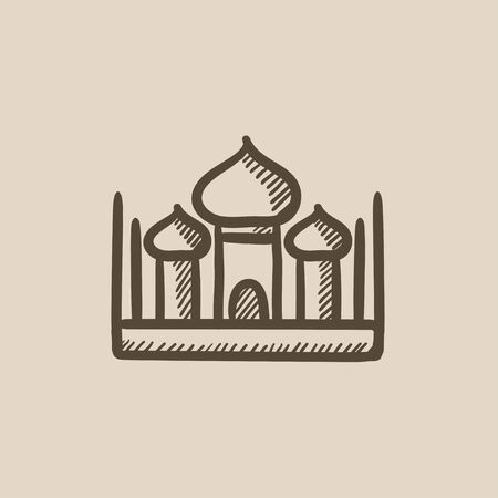 cupola: Mosque vector sketch icon isolated on background. Hand drawn Mosque icon. Mosque sketch icon for infographic, website or app.