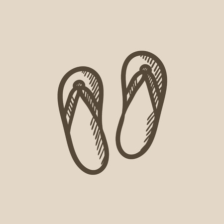 slipper: Beach slipper vector sketch icon isolated on background. Hand drawn Beach slipper icon. Beach slipper sketch icon for infographic, website or app.