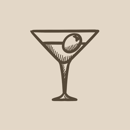 Cocktail glass vector sketch icon isolated on background. Hand drawn Cocktail glass icon. Cocktail glass sketch icon for infographic, website or app. Ilustração
