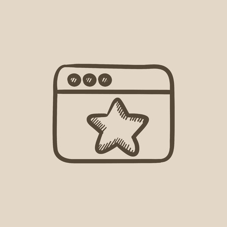 good judgment: Browser window with star favorite sign vector sketch icon isolated on background. Hand drawn Browser window with star sign icon. Browser window with star sketch icon for infographic, website or app.
