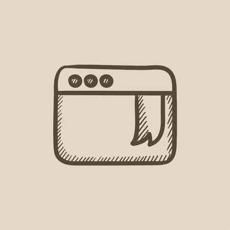 website window: Browser window with bookmark vector sketch icon isolated on background. Hand drawn Browser window with bookmark icon. Browser window with bookmark sketch icon for infographic, website or app. Illustration