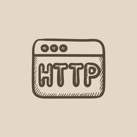 http: Browser window with http text vector sketch icon isolated on background. Hand drawn Browser window with http text icon. Browser window with http text sketch icon for infographic, website or app.