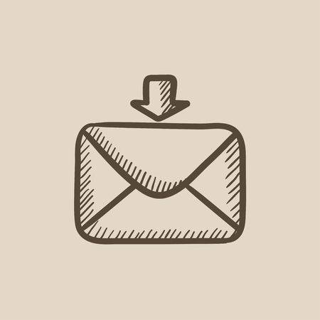incoming: Incoming email vector sketch icon isolated on background. Hand drawn Incoming email icon. Incoming email sketch icon for infographic, website or app.