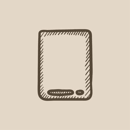 touch: Touch screen tablet vector sketch icon isolated on background. Hand drawn Touch screen tablet icon. Touch screen tablet sketch icon for infographic, website or app.
