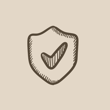 guard  guardian: Shield with check mark vector sketch icon isolated on background. Hand drawn Shield with check mark icon. Shield with check mark sketch icon for infographic, website or app. Illustration