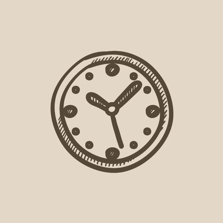Wall clock vector sketch icon isolated on background. Hand drawn Wall clock icon. Wall clock sketch icon for infographic, website or app. Çizim